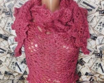 Crochet Pineapple Lace Wrap Mohair Elegant Round Shawl