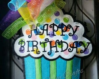Cupcake Burlap Door Hanger or  Party Decoration