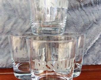 Absolut Etched Vodka Glasses, Set of 4