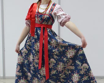 "Russian traditional kosoklinny sarafan (sundress) ""Fabulous night"""