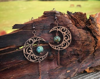 Wooden Earrings - Turquoise and Moons