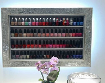 Mosaic Mirror framed nail polish rack illuminated display frame