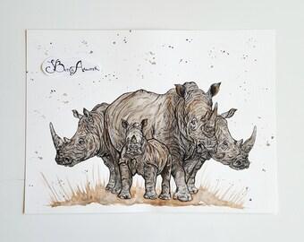 Rhino art, rhino gifts, rhino items, rhino painting, animal art, wall art, african art, watercolour, rhinos, rhino, jungle animals, prints