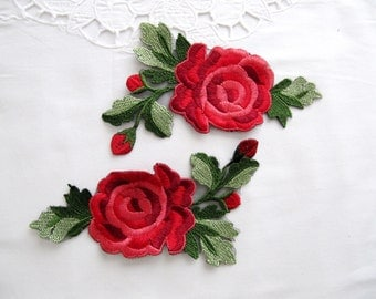 Penna Flower Patch,Buds Roses Patch ,2 PCS Red Rose Patches,Flower Embroidered,Rose Applique,Fashion Embellishment,DIY Craft,Sew On Patch