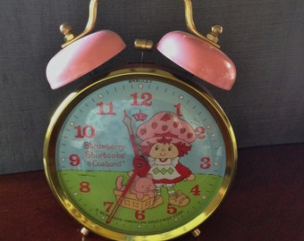 Vintage Strawberry Shortcake and Custard Alarm Clock by American Greetings ~ As Is