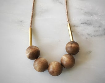 Wood Bead and Brass Bar Necklace