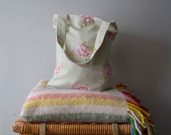 Pastel Green Pink Floral Cotton Tote / Book Bag
