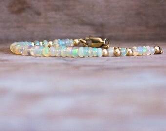 Ethiopian Welo Opal Bracelet in Gold or Silver,  Welo Opal Jewelry, October Birthstone, Opal Jewellery, Wife Gift, Precious Stone Bracelet
