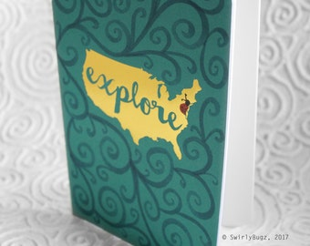 Explore journal, notebook, sketch book, blank pages, swirls, ladybug