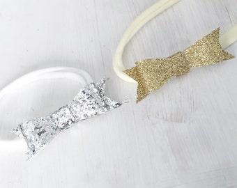 Glitter Bow Headband (clip option available)