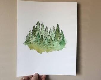 Forest Print Original 8x10