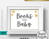 "Books for Baby Shower Sign, Books Sign, Gray Text Baby Shower Decor, Gold Glitter Twinkle Stars, Instant Download 5x7"" Printable Sign"
