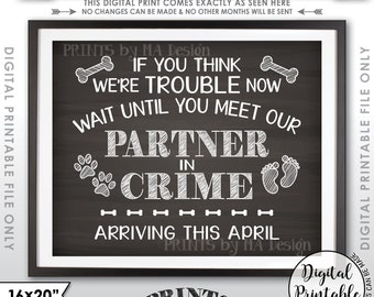 """Dog Pregnancy Announcement Due APRIL, Partners in Crime, Meet Our Partner in Crime, Chalkboard Style 8x10/16x20"""" PRINTABLE Instant Download"""