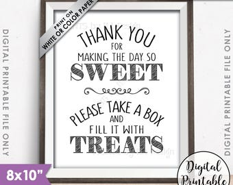 "Thank You for Making the Day so Sweet Please take a Box and fill it with Treats, Take a Treat Sweet Treats, 8x10"" Printable Instant Download"