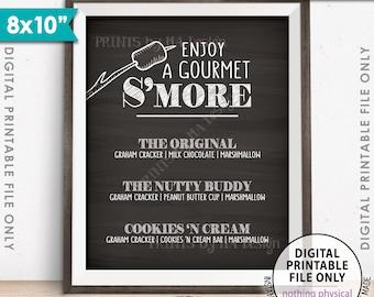 "S'more Menu, Enjoy a Gourmet Smore Sign, S'more Sign, Smores Menu, Gourmet Smore Bar, 8x10"" Chalkboard Style Instant Download Printable Sign"