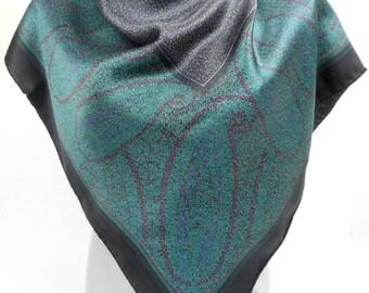Swiss Designer FISBA-STOFFELS Silk Scarf,  Geometric Design Silk Scarf  In Black and Dark Green, Rare Vintage Scarf, Swiss Scarf