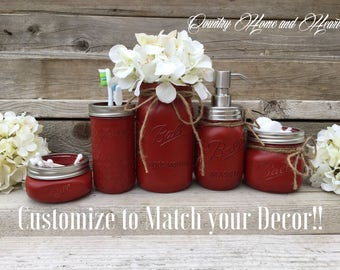 Bathroom Mason Jar Rustic Christmas Gift Red Bathroom Decor Mason Jar