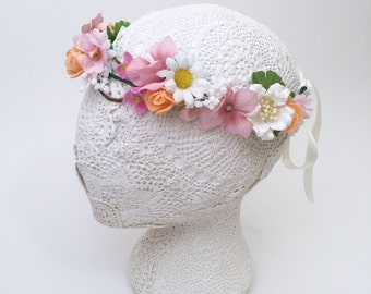 Colourful and Bright Flower Crown Wreath | Rainbow springtime colours with adjustsble size Spring/Summer