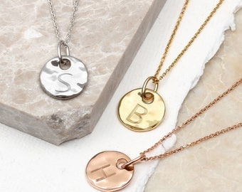 Precious Metal Personalised Hammered Disc Necklace