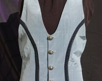 ladies tailored waistcoat vest Blue moire
