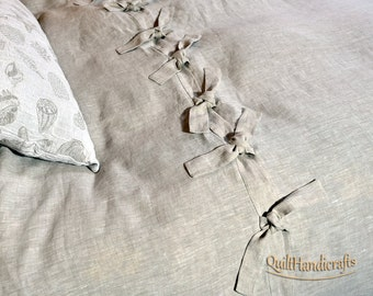 Duvet Cover with ties Linen DUVET COVER Natural linen100% Queen King Twin Double  linen bedding comforter cover stonewashed prewashed pure