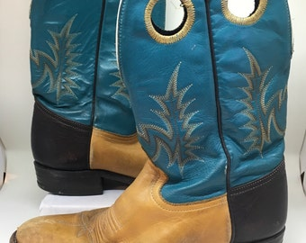Vtg Women's cowgirl boots 6.5 Teal Brown leather mid calf
