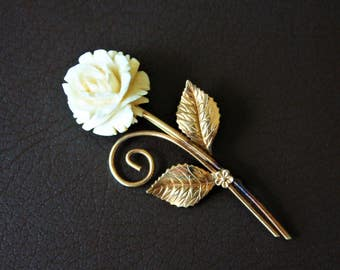 Winard Carved Rose 12KT Gold filled Brooch