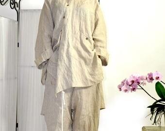 Oversize Beige summer top/Asymmetric Beige 100% linen Tunic/Casual Top/Loose tunic/Maxi linen tunic/Oversize shirt/Handmade  shirt/S0304
