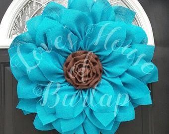 Flower wreath, Fall wreath, turquoise wreath, Burlap flower wreath, Burlap wreath, Spring wreath, wedding wreath, Summer wreath,