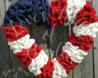 Fourth of July wreath, 4th of July wreath,  Burlap wreath, Red, white, blue wreath, Summer wreath, Spring wreath, 4th of July decor,