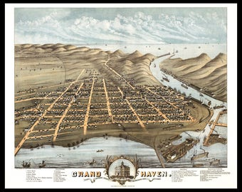 """Grand Haven MI 1874. Shown with Frame, only for Display, Print only. This is a wall decoration not a Road Map. Print up to 12"""" X 18"""""""