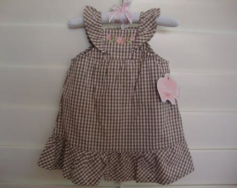 Baby Girls' Clothing Dress and Bloomers Set  White / Beige Brown  Kids' Size 3 Months  100% Cotton