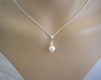 Dainty Pendant Necklace made with Swarovski 8mm Pearl and 4mm Crystal on a fine silver plated chain, Ladies & Girls sizes