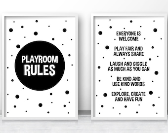 Digital Download Playroom Prints, Monochrome Nursery Prints, Instant Download Printable Kids Art, Playroom Decor, Kids Print, Playroom Rules