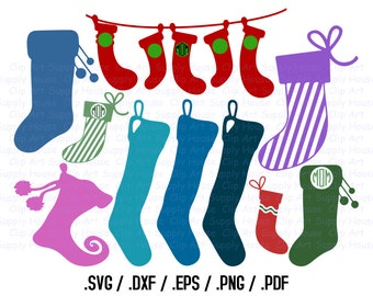 Christmas Stocking Clipart, Winter Stocking Wall Art, SVG File for Vinyl Cutters, Screen Printing, Silhouette, Die Cut Machines - CA370