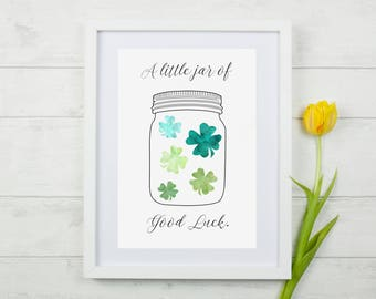 A Little Jar of Luck Print,Good Luck,Lucky Print,Four Leaf Clover Print,Lucky Wall Art,Qwerky Gift ***Print Only***
