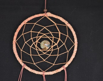 Dream Catcher with Rainforest Jasper crystal made with vintage recycled materials and Cruelty Free Feathers