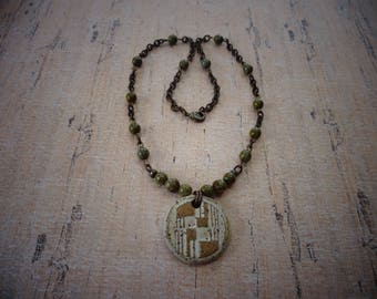 Ceramic Pendant Necklace with Moss Czech Glass Beads