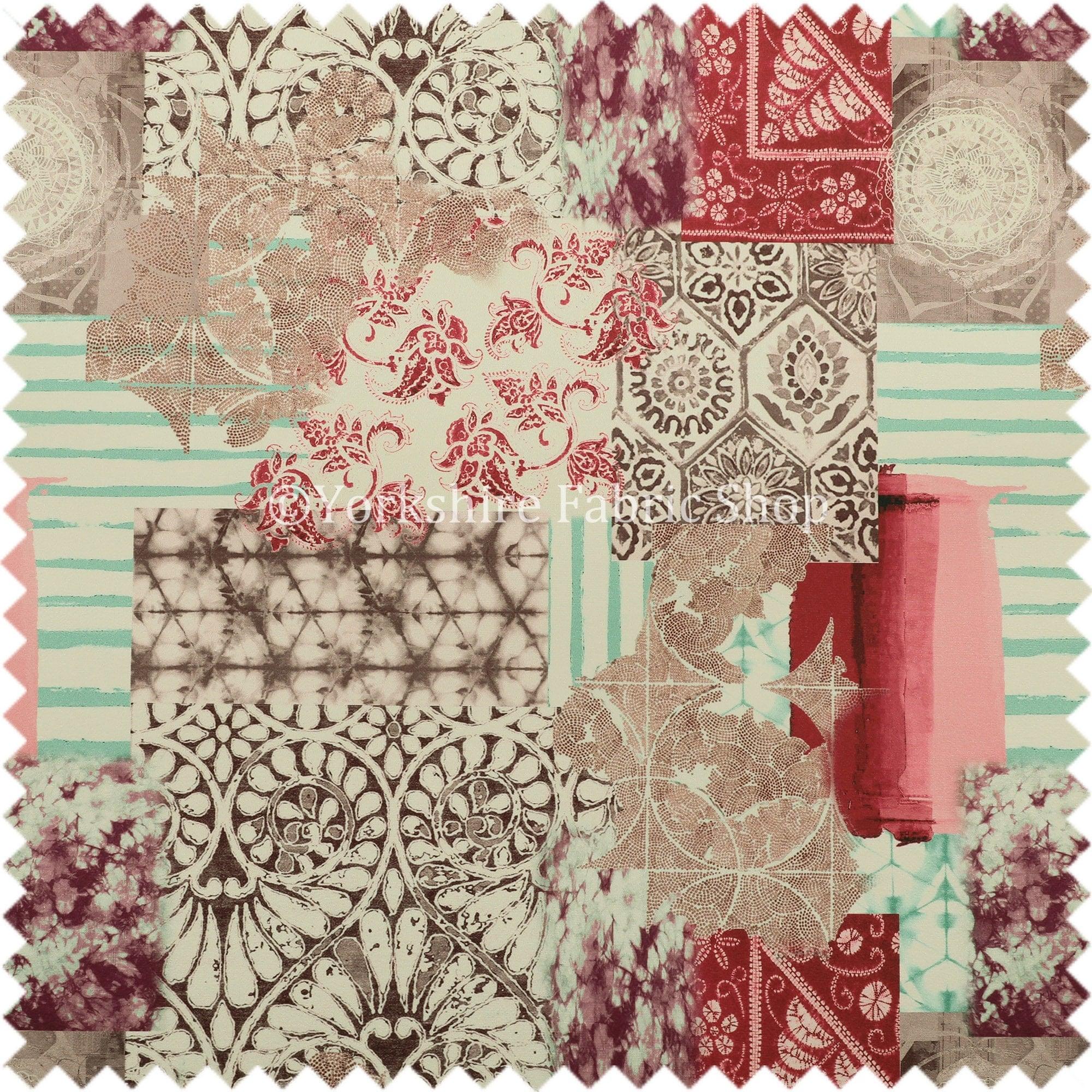 Tapicer a de geom trica patchwork rosa terciopelo impreso - Telas para tapiceria ...