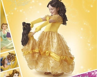 """Simplicity Pattern 8407, D0652, Belle, Beauty and the Beast, Classic Style, Disney's Belle Ball Gown, both Girls Sz: 3-8 & 18"""" doll, UN-CUT"""