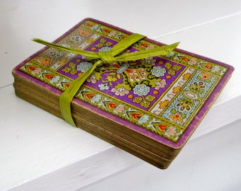 Antique Playing Cards Full Deck Colorful Renaissance Style Floral Purple and Red Design Practical Collectibles