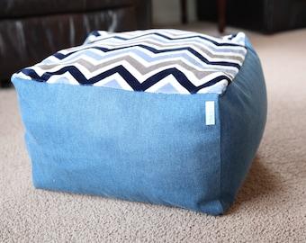 Stuffed Animal Storage - Floor Lounger Pillow - Finkie Futon Mini - Denim and Navy Chevron