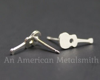 Sterling Silver Guitar Earrings, Music Earrings, Music Jewelry, Music Lover Gift, Electric Guitar Earrings, Rock and Roll Gift, Instrument