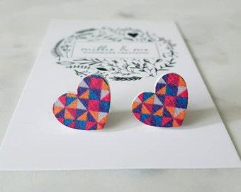 Wooden heart studs