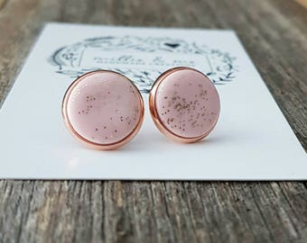 Rose gold and pink clay stud earrings/ rose gold earrings/ pink earrings/ clay studs/ gift for her/ earrings
