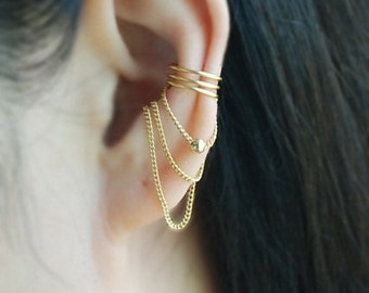 3 band with Chain & ball Ear cuff, No Piercing Cartilage Earrings, Ear Jacket, Fake Conch Piercing, Chains Earrings