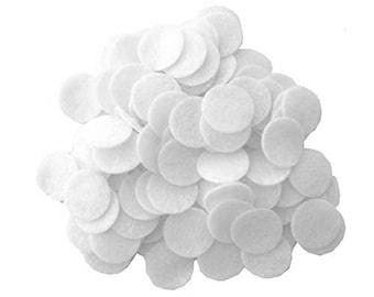 100 pc White 1 inch Felt Circles
