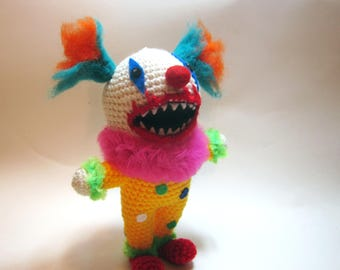 Creepy Clown Doll - Clown Horror Plushie - Crochet Evil Clown Doll - Scary Amigurumi Doll-  Creepy Cute Plushie - Creepy Doll - Toy Doll