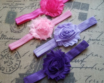 Set of 4, baby headbands, shabby chic baby headband, shabby chic headband, newborn headband, baby girl, baby accessories, photo prop, girl