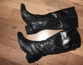 VTG Black Studded ARTURO CHIANG Riding Boots